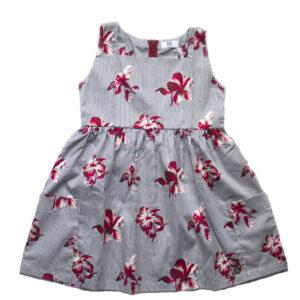 vestido rayas y flores rojas